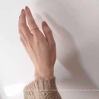 🚚 手作chic純銀戒指925純銀納米綠尖晶石開口戒指女 預購
