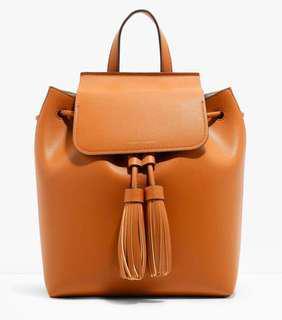 Charles & Keith Tassel Drawstring Backpack (Brown)