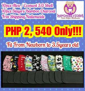 10PCS CLOTH DIAPER SHELL WITH 10PCS 5LAYERS BAMBOO CHARCOAL FIT FROM NEWBORN TO 3.5YEARS OLD