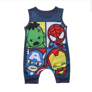 6M-24M Superman Romper Marvel Avengers Hulk IronMan SpiderMan Cute Romper Boy  Heroes Fashion style Jumpsuit Jumper Onesie