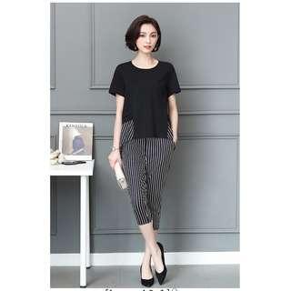 EE小舖~KT77886#大碼套裝時尚新款韓版條紋氣質套裝