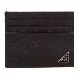 (For Order)Prada Black Saffiano Logo Card Holder