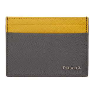 (For Order)Grey & Yellow Saffiano Bicolor Card Holder