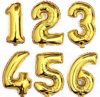🚚 Gold 0-9 BIRTHDAY NUMBERING BALLOONS