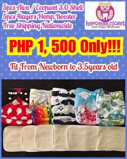 5PCS CLOTH DIAPERS WITH 5PCS 4LAYERS HEMP BOOSTER FIT NEWBORN TO 3.5YEARS OLD