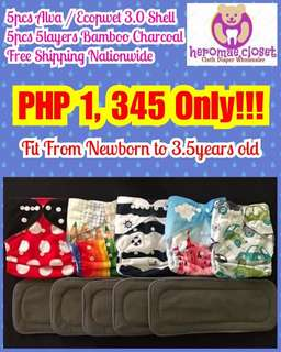 5PCS CLOTH DIAPERS SHELL WITH 5PCS 5LAYERS BAMBOO CHARCOAL FIT FROM NEWBORN TO 3.5YEARS OLD