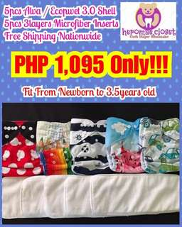 5PCS CLOTH DIAPERS SHELL WITH 5PCS 3LAYERS MICROFIBER INSERTS FIT NEWBORN TO 3.5YEARS OLD