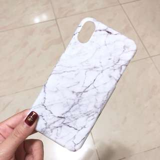 iPhone X 雲石手機殼 白色大理石