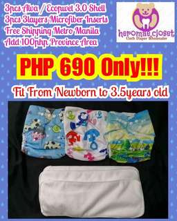 3PCS CLOTH DIAPERS SHELL WITH 3PCS 3LAYERS MICROFIBER INSERTS FIT NEWBORN TO 3.5YEARS OLD
