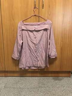 🚚 出清 正韓 淡粉色造型假襯衫 方領 六分袖 上衣