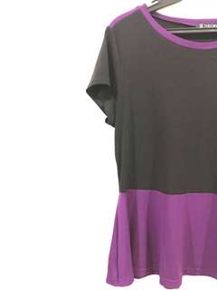 Black and Violet Peplum Top