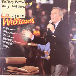 "(1984) THE VERY BEST OF ANDY WILLIAMS 12"" Vinyl Record Album (Stereo) Printed in Germany Ultra Rare BEST OF Andy Williams (1984)"