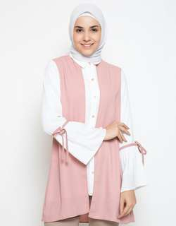 Annisa Long Sleeve Blouse Kerah Rompi & Pita - Dusty Pink