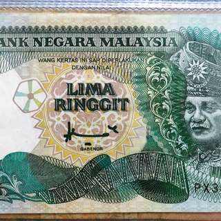 Malaysia old banknote 5ringgit duit lama