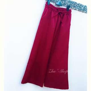 全新轉賣 穿起來超瘦!!!酒紅色鬆緊褲頭直筒寬褲
