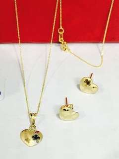18K Saudi Gold Necklace with earring👉SET