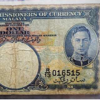 Board of commissioners of currency Malaya 1dollar duit lama