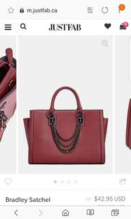 JustFab Burgundy bradley satchel