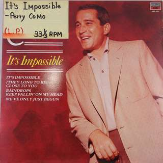"(1971) Perry Como- It's Impossible 12"" Vinyl Record Album (1 X LP) EMI (Stereo) A Male American Singer And Television Personality"