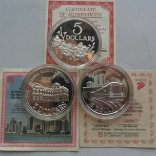 1984, 1987 & 1989 Singapore $5 Silver Proof Coin