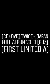 TWICE - BDZ (Japan Full Album Vol. 1) (First Limited A) [PREORDER]