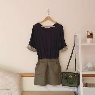 正韓 反摺袖拼色鬆緊洋裝/真皮鎖頭肩背斜背小方包(墨綠)