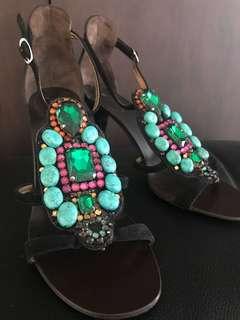 GIUSEPPE ZANOTTI black heels shoes 37