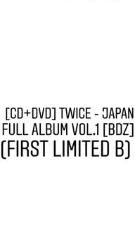 TWICE - BDZ (Japan Full Album Vol. 1)(First Limited B) [PREORDER]