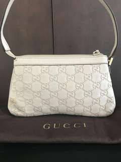 GUCCI white pouch Guccisima embossed