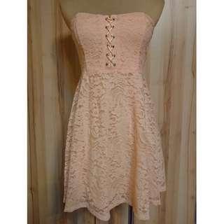 🚚 *全新*F21繫帶蕾絲抹胸禮服連衣裙-粉色S