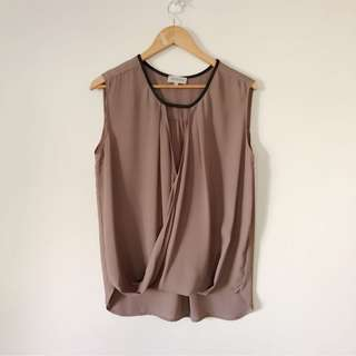 Renvy Mauve Blouse with Black Leather
