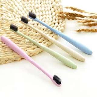 🚚 環保 小麥秸稈 牙刷 竹炭刷毛 軟毛牙刷 (5隻29)