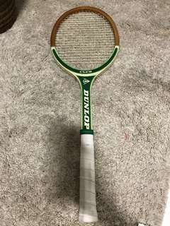 Vintage wooden tennis racket - green Dunlop