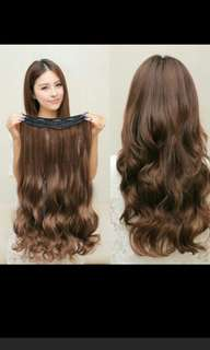 (NO instocks!) Preorder korean wavy curly clip on straight hair extension* waiting time 15 days after payment is made *chat to buy to order