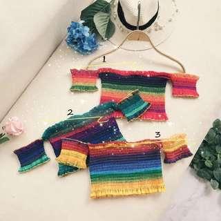 [PO]Rainbow Multistripe Colourful Bardot Top