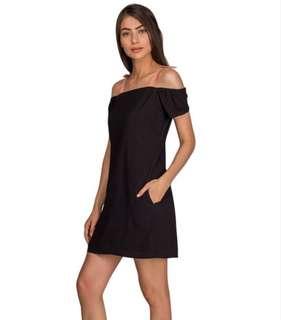 Plains and Prints Black Off Shoulder Dress