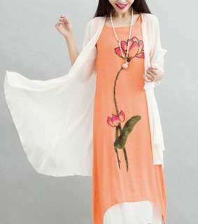 Floral Linen Midi Dress 2 Piece Set Wear 059224 FM*ready stock*