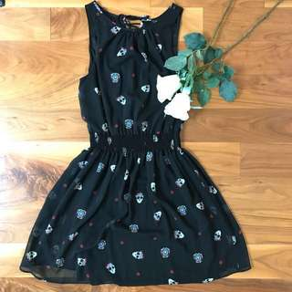 goth sugar skull print dress by Zara