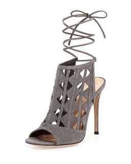 Gianvito Rossi grey pyramid cut out suede heels