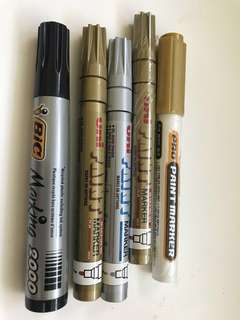 BN Gold and silver (UNI paint) and black (BIC)permanent markers