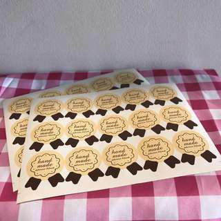 'Handmade' label stickers 45pcs