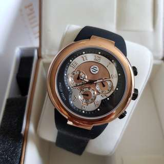 Authentic New Philip Stein Active 45mm Chronograph Men's Watch 32-ARG-RBB