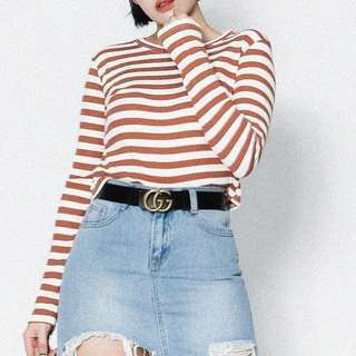 Long sleeve stretchy stripe tee