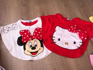 🆕1y Minnie & kitty Christmas cny top 2pcs