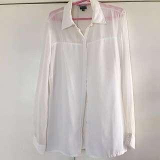 White Chiffon Long Sleeves