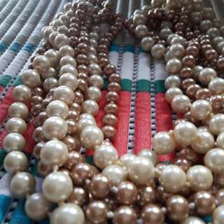 costume jewelry pearl brown and beige