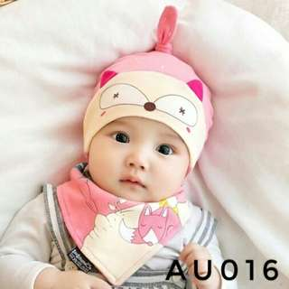 0-12 MONTHS baby hat/cap with bibs set