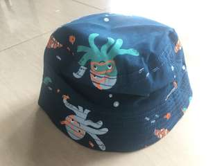 Reversible bucket hat - in under the sea and plaid prints