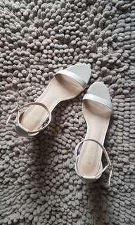 Zalora Chunky Heel Strap Sandals (Cream)