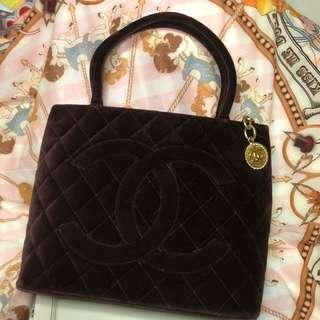 Chanel 酒红色猄皮 tote Bag